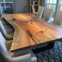 Finished dining table bookmatched spalted maple live edge slab WunderWoods